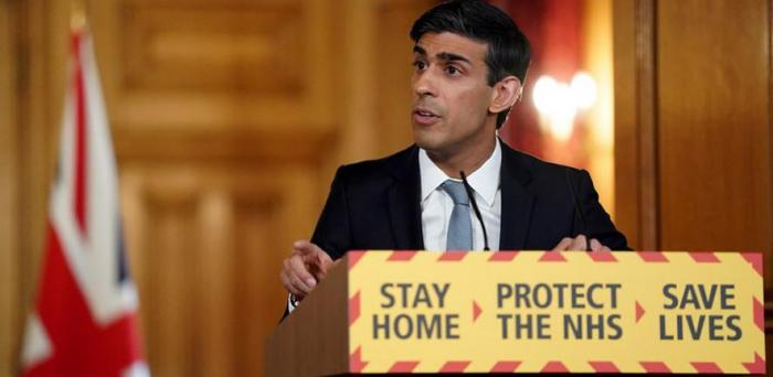 UK Chancellor Rishi Sunak at a Covid-19 press conference. Sunak is credited with instigating the UK's 'furlough' job retention scheme.  Credit: Number 10