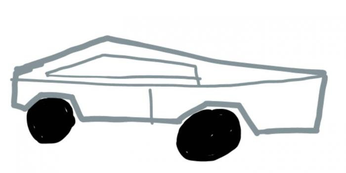 line drawing of a Tesla car