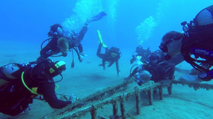 Filming underwater in Lanzarote