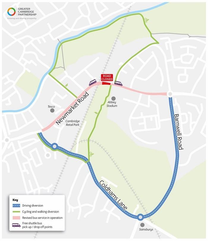 Newmarket Road diversion map