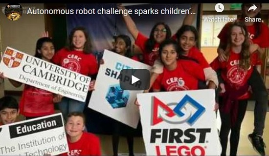 Video still from the Cambridge regional heat of the Institution of Engineering and Technology (IET) FIRST® LEGO® League