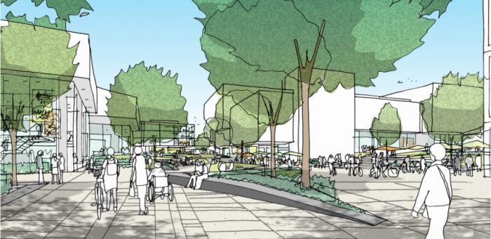 West Cambridge Illustrative Masterplan - view of the East Forum  Credit: Alan Marten