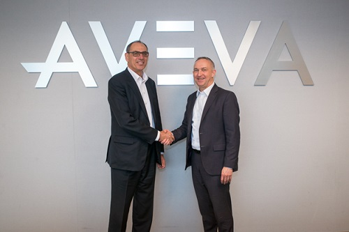 Worley CEO, Andrew Wood (left), and AVEVA CEO, Craig Hayman(right) announce partnership to build upon AVEVA Enterprise Resource Management software and deliver the first cloud-based solution optimized for the EPC market.